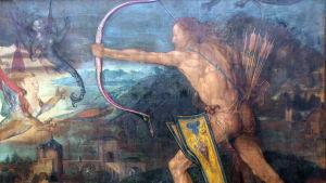 """Albrecht Dürers målning """"Herkules dödar de stymfaliska fåglarna"""" (1500)."""