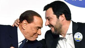Silvio Berlusconi och Legas ledare Matteo Salvini under en presskonferens i Rom i förra veckan.