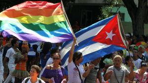 Kubaner med Kubas flagga och regnbågsflaggan.