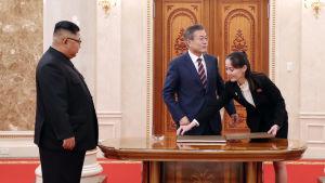 Kim Yo-Jong under toppmötet mellan Kim Jong-Un och Sydkoreas president Moon Jae-In i Pyongyang år 2018.