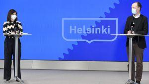 Pormestaritentti Helsingissä 10. maaliskuuta 2021.