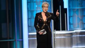 Meryl Streep höll tal vid Golden Globe -filmgalan den 8 januari 2017.