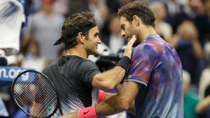 Roger Federer och Juan Martin del Potro, US Open 2017.