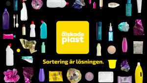 Kampanjbild för kampanjen Älskade plast, kampanjens logo i mitten, med texten Sortering är lösningen under