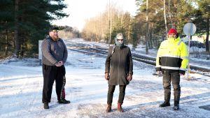 Tre personer vid järnvägsspår
