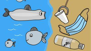 en tecknad bild av fiskar och skräp i under havsytan