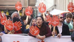 Demonstration mot abortförbud i Chile