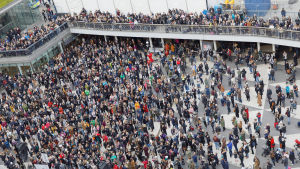 Demonstration mot sexuella trakasserier på Sergels torg i Stockholm.