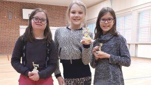 Alina Skog, Saga Törmäkangas och Emma Karmanheimosprang över 100 km runt skolgården