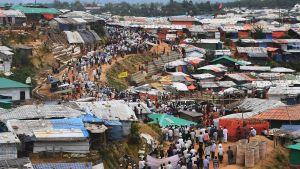 Rohingya-flyktingar i läger i Bangladesh