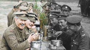 Stillbild där man ser restaureringen av bilden, halva bilden är i färg och den andra är svartvit.