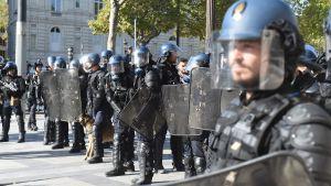 En rad poliser i kravallutrustning.