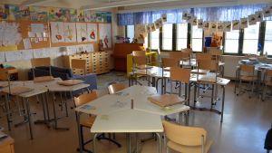 Klassrum i Boxby skola i Sibbo