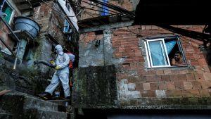 En frivilligarbetare sprutade desinfektionsmedel i favelan Dona Marta i Rio de Janeiro den 13 april.
