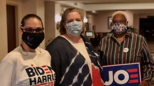 Tre demokratiska partidelegater i Delaware som stöder Joe Biden i presidentvalet 2020