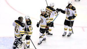 Bostonspelare jublar efter segern över Tampa Bay.