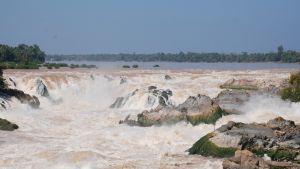 Inga farkoster kan passera de dramatiska vattenfallen i Mekong nära gränsen mellan Laos och Kambodja. Den nyaste dammen i Mekong har uppförts i en flodfåra mitt bland de spektakulära vattenfallen.