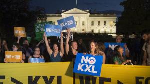 Den omstridda oljeledningen Keystone XL har stött på hårt motstånd bland miljöaktivister, lokala jordbrukare och indianstammen Standing Rock. protester har bland annat förekommit utanför Vita huset