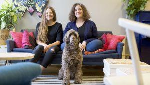 Jenny Närhinen ja Maiju Sundvall istuvat hostellinsa sohvalla hostellikoiran kanssa.