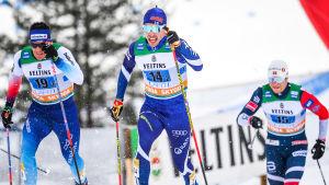 Ristomatti Hakola i sprintstafetten i Lahtis där Finland slutade trea.