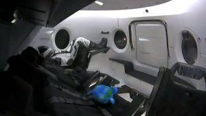 På den här bilden syns dockan Ripley ombord på Crew Dragon strax före uppskjutningen.