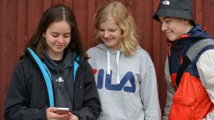 Tre skolelever som tittar på en mobiltelefon.
