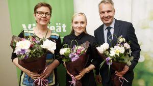 Krista Mikkonen, Maria Ohisalo och  Pekka Haavisto