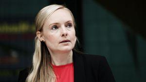 De grönas ordförande inrikesminister Maria Ohisalo i Björneborg den 16 juli 2019.