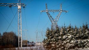 Kaksi sähkölinjaa talvisessa maisemassa.