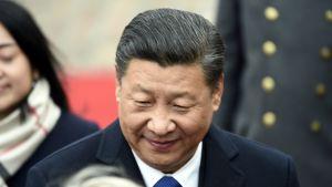 Kinas president och partiledae Xi Jinping utanför slottet i Helsingfors.