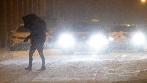 Fotgängare i snöstormen 1 februari.