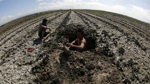 Filippiineillä maanviljelijät kaivavat vettä kuivuneille pelloilleen.