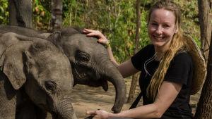 Biologi Virpi Lummaa ja norsunpoikasia