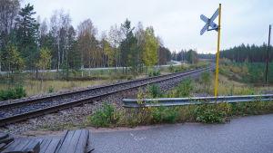 En skymt av järnvägsrälsen som löper förbi den stängda plankorsningen i Skogby