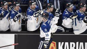 Elmeri Eronen firar ett mål vid Finlands bänk.