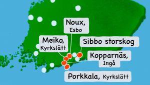 Karta över Finland med Meiko, Noux, Kopparnäs, Porkkala och Sibbo storskog markerade.