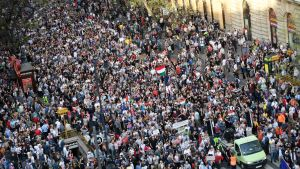 Demonstration i Budapest 14.4.2018.