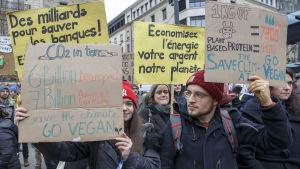 Demonstranter i Katowice, Polen, under FN:s klimatmöte i december 2018.