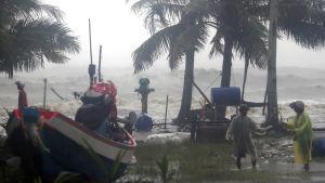 Förberedelser i Pak Phanang inför stormen Pabuks ankomst.