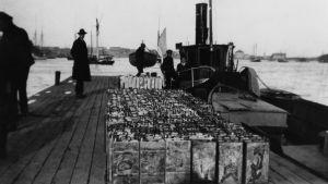 En svartvit bild från en brygga, där flera konfiskerade spritkanistrar står på rad.