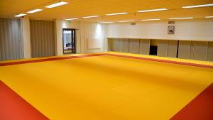 En tom sal med gul-röd tatami matta.