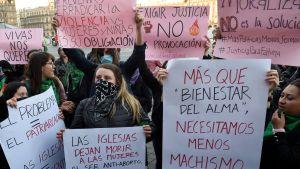 Demonstration mot kvinnovåldet i Mexiko. Demonstranterna reagerar mot mordet på en sjuårig flicka.