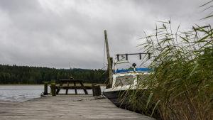 Vene laiturissa Päijänteen rannalla.