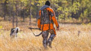 En jägare med jakthund går över en åker.