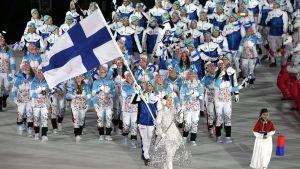 Finland vid invigningen, OS 2018.