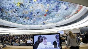 Michelle Bachelet höll sitt första tal som kommissionär inför FN:s råd för mänskliga rättigheter i Geneve