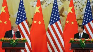 Donald Trump och Xi Junping tittar på varandra med ländernas flaggor i bakgrunden.