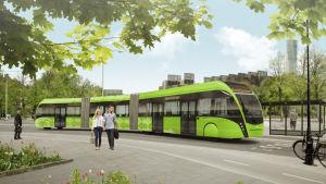 Illustration av superbussen MalmöExpressen i trafik i Malmö.