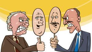 tecknad bild på två män som står mot varandra och är väldigt arga på varann. De håller varsin spegelbild uppe, spegelbilden visar ansikten som är harmoniska.