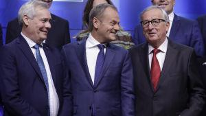 Antti Rinne, Donald Tusk, Jean-Claude Juncker